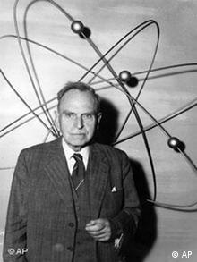 Otto Hahn with atom symbols