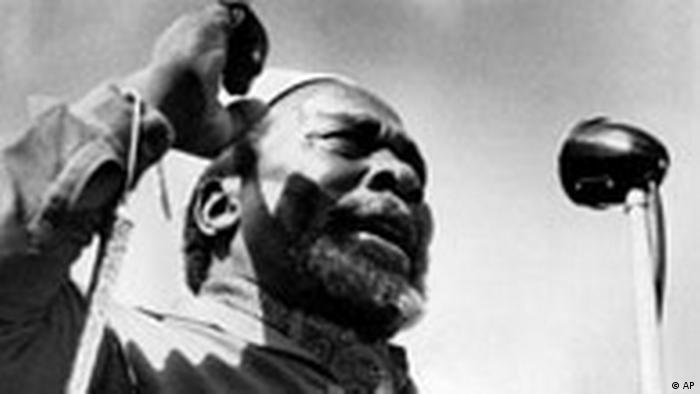 Jomo Kenyatta holding a speech