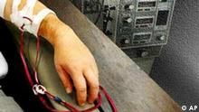 Arm with intravenous tubes, over medical equipment, partial graphic