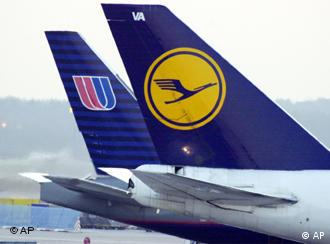 The tailfins of a Lufthansa and United airlines planes