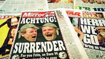 Front pages of some of the British national newspapers, Monday June 24, 1996, looking forward to the England vs Germany soccer match in the semi-finals of Euro 96 on Wednesday June 26, 1996.