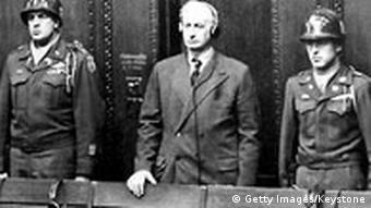 Friedrich Flick vor dem Kriegsverbrechertribunal in Nürnberg