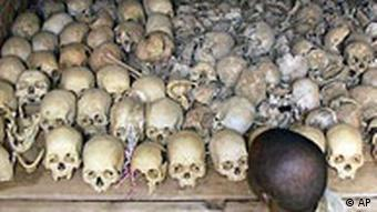 Rows of human skulls at a memorial site for victims of the 1994 genocide in Rwanda