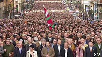 Tens of thousands of people march trough Bilbao to protest against the Basque separatist group ETA.
