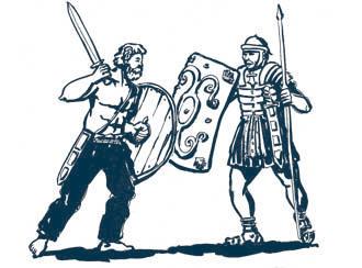 ilustración de un germano luchando contra un romano