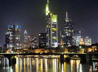 Frankfurt's skyline glitters at night