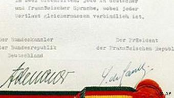40. Jahrestag des Elyseevertrags, Unterschrift Konrad Adenauer und Charles de Gaulle