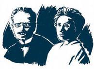 روزا لوکزمبورگ (راست) و کارل لیبکنشت
