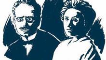 19. Liebknecht-Luxemburg Karl Liebknecht (1871-1919) und Rosa Luxemburg (1870-1919). Illustration Raimo Bergt