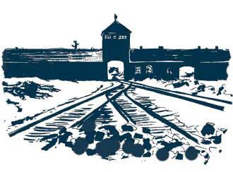 L'entrée principale du camp d'extermination d'Auschwitz-Birkenau