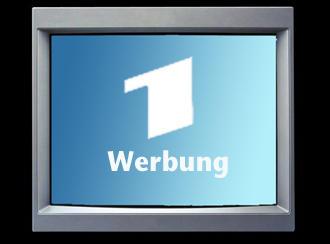 Die Zahl eins für das Erste Deutsche Fernsehen (ARD) und darunter das Wort Werbung symbolisieren das Thema Werbung.