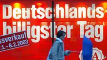 Winterschlussverkauf in Deutschland Duisburg vom 27.Januar bis 8.Februar 2003