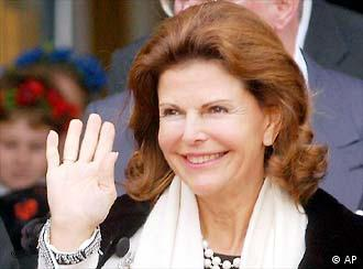 Queen Silvia of Sweden waves
