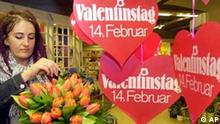 Blumenladen zu Valentinstag