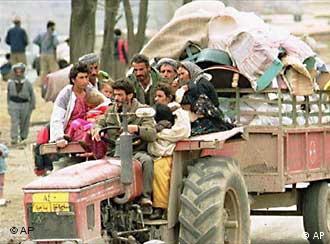 Refugiados kurdos en 1991.