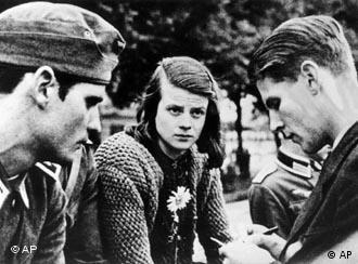 Hans Scholl (left) and Sophie Scholl (center)