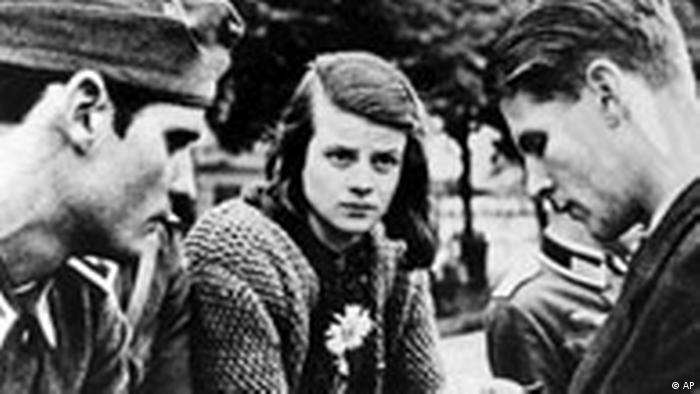 Hans Scholl (left) and Sophie Scholl (center)