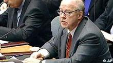 United Nations chief weapons inpspector Hans Blix presents a report to the U.N. Security Council at the United Nations Friday, Feb. 14, 2003. International Atomic Energy Agency chief Mohamed ElBaradei is at left. (AP Photo/via APTN)