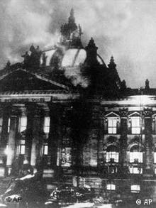 Flames engulf the Reichstag building in Berlin, Germany, Feb. 27, 1933.