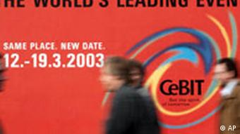 CEBIT Computermesse 2003 in Hannover Plakatwand