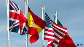 Flaggen Gipfen auf den Azoren