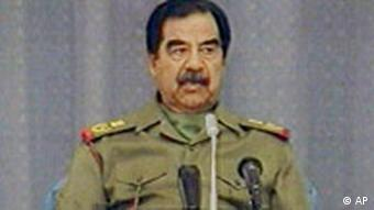 Saddam Hussein in a TV image from 2003