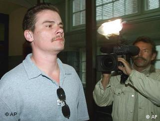 Andreas Krieger, formerly Heidi, on his way to testify at a 2000 doping trial
