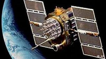 Artist's illustration of a GPS satellite in space above Earth