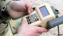 GPS navigation device held by US soldier, Kuwait, video