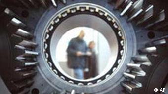 View through a cogwheel gearing of a windpower station at industrial trade fair