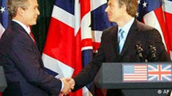 U.S. President George W. Bush and British Prime Minister Tony Blair