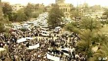 Iraqi protesters demanding return to law and order, outside Palestine Hotel, Baghdad, Iraq