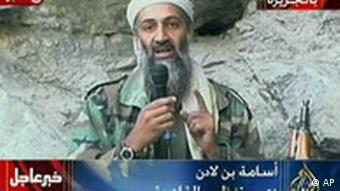 Osama bin Laden praising the 9/11 attacks in a message broadcast by Al-Jazeera on Oct. 7, 2001