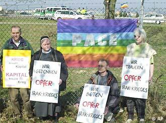 Good Friday protests -- members of monks for peace demonstrate against the war in Iraq at the Rhein-Main Air Base in Frankfurt.