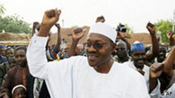 Muhammadu Buhari from the opposition party ANPP (All Nigeria People's Party) acknowledges support after voting in Daura, Nigeria, Saturday, April. 19, 2003. President Olusegun Obasanjo seeks a second term in elections Saturday that pose the stiffest test for Nigeria's young democracy since his election four years ago ended 15 years of military rule. (AP Photo/Schalk Van Zuydam)