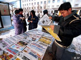 在蒙古的报摊上