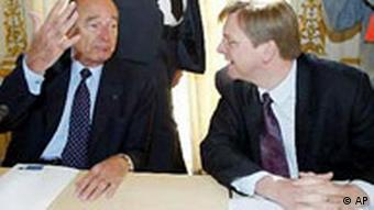 Gipfel in Brüssel Jacques Chirac und Guy Verhofstadt