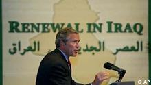 President Bush speaks to promote Iraqi democracy Monday, April 28, 2003 in Dearborn, Mich. Bush traveled to the Detroit suburb, where about 30 percent of residents claimed Arab ancestry, where he is touting his administration's efforts to plant the seeds of democracy in the rubble of Saddam Hussein's toppled dictatorship and courting Michigan's Arab community with an eye on his re-election. (AP Photo/Pablo Martinez Monsivais)
