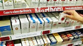 Cigarettes on the shelves in a shop