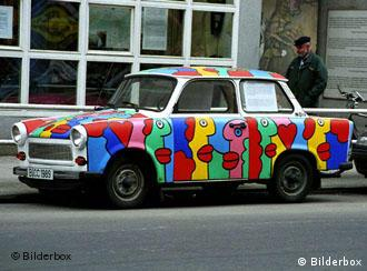 A Trabant with pop-art paintwork