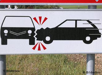 A traffic sign of a car crash