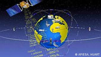 An artist's rendering of the satellite navigation network Galileo around the Earth