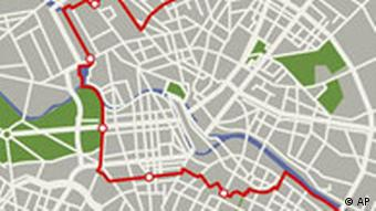 Karte der Berliner Innenstadt mit ehemaligem grenzverlauf und den ehemaligen Kontrollposten entlang der Berliner Mauer