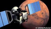** ARCHIV ** Das undatierte computergenerierte Bild der European Space Agency ESA zeigt die Raumfaehre Mars Express, die am Montag, 2. Juni 2003, vom Raumfahrtzentrum Baikonur in Kasachstan zu ihrer rund 250 Millionen Kilometer weiten Reise zum Mars starten wird, um dort nach Wasser und Lebensspuren zu suchen. Es ist die erste Planetenmission der europaeischen Weltraumagentur. (AP Photo/HO, ESA -Illustration by Medialab) ** nur fuer redaktionelle Zwecke verwenden -- zu APD1299 **
