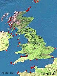 Karte mit potentiellen Standorten von Gezeitenkraftwerken