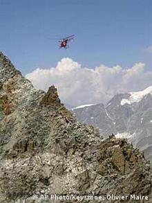 Gletscher schmelzen durch Hitze, Felsabbruch