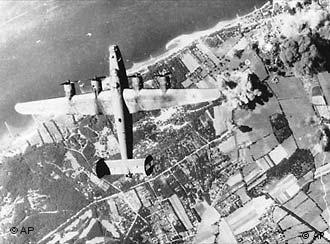 Aerial photo of bomber over German city