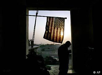 A US flag at a military base in Iraq