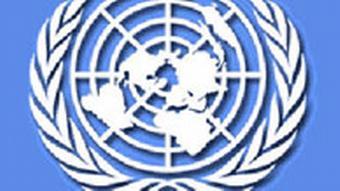 Vereinte Nationen Logo, Weltkugel von Oben mit Lorbeerkranz drumherum