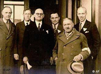 Though a Nazi party member, Rabe, third from left, rescued Chinese from death
